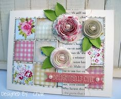 Love this patchwork/rose card Paper Cards, Diy Cards, Craft Cards, Pretty Cards, Love Cards, Card Making Inspiration, Making Ideas, Patchwork Cards, Shabby Chic Cards