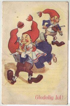 Glædelig Jul- (nissene spiller til dans). Utg Børrehaug & Rønning serie T