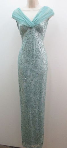 Tadashi Shoji Mint Green Cap Sleeve Long Formal Mother Bride Groom Cruise Dress  #TadashiShoji #ballgown