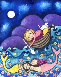 Girl, Mermaids and Cat (by Lindy Longhurst) ♥♥♥ Garota, Sereias e Gato (de Lindy Longhurst)