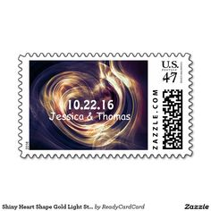 Shiny Heart Shape Gold Light Streaks wedding Stamp Wedding Postage Stamps, Gold Light, Heart Shapes, Create Your Own, Best Gifts, Big, Prints, How To Make, Design