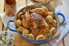 Pollo al romero con champiñones.