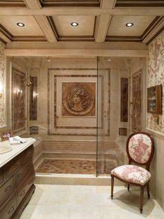 Beautiful Classic Bathroom Interior Design Completed With Walk In Shower Ideas Using Glass Door And Classic Upholstered Chair