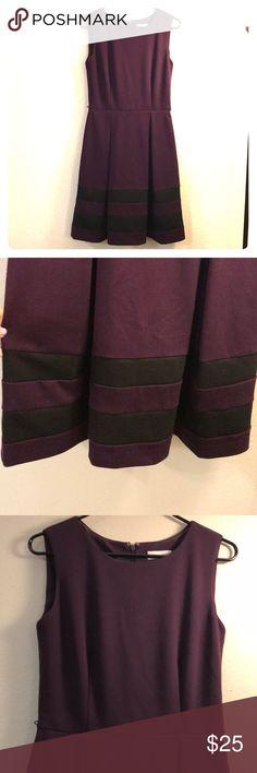 Calvin Klein Dress Calvin Klein dress in Plum. Black stripes at bottom. Never worn. Comes with thin black belt for waist. Zipper closure in back. Knee length. Thick nice material Calvin Klein Dresses