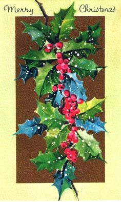 Vintage Christmas Card Sprig of Holly