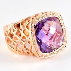 18k rose gold with Diamonds and Amethyst ring