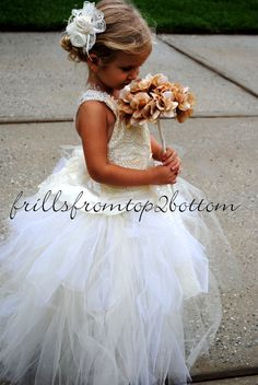 Ivory Flowergirl Dress . Tutu Skirt . Halter Top w/ Lace straps . custom made hairclip . Sizes 12mo - 5T