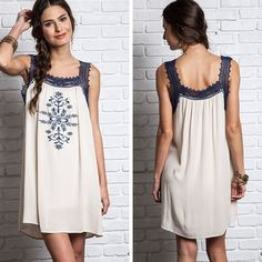 Floral Embroidered Dress - Cream - $39.50