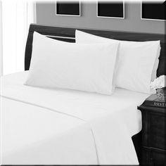 Queen White Solid 4 Piece Sheet Set 100% Egyptian Cotton #Scala