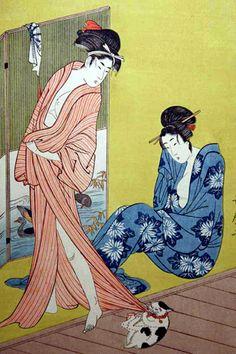 Кошки в японской гравюре и живописи. Кошки в японском искусстве.