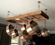 Wood and Copper Pot Hanger by MidtownAndCompany on Etsy