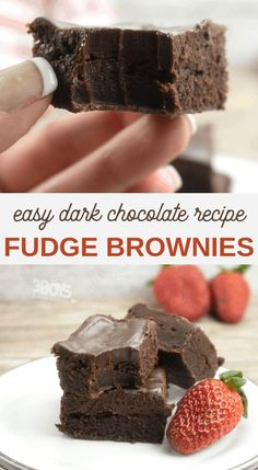 These Dark Chocolate Fudge Brownies may look and taste gourmet, but they are easy to make! A layer of semi-sweet Ganache topping a layer of dark chocolate brownie gives you a fudgy brownie delight that no one will be able to pass up! Dark Chocolate Recipes, Chocolate Fudge Brownies, Dark Chocolate Cakes, Cookie Brownies, Chocolate Desserts, Best Brownie Recipe, Brownie Recipes, Easy Desserts, Dessert Recipes