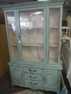 china cabinet and hutches in antibes green China Cabinet Redo, Painted China Cabinets, Painted Hutch, Chalk Paint Furniture, Furniture Projects, Furniture Makeover, Diy Furniture, Hutch Makeover, Dresser Makeovers