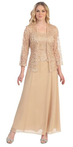 <p>This long modest gold dress is perfect for mother of the bride or another formal occasion. This chiffon lace with pebble dress has wide sleeveless tank straps and also includes a matching long sleeve lace bolero jacket. A classy dress for many different occasions!    <ul>     <li>Designer: Sally Fashion</li>     <li>Item number: 8466</li>     <li>Material: chiffon pebble with lace.</li>     <li> 100% polyester.</li>     <li>Fully lined.</li>     <li>No cup inserts.</li>     <li>Back…