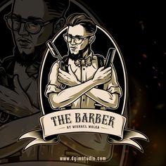 Custom design by DGIM Studio. If you need a custom design, please, contact us. #barber #barbershop #vector #vectorillustration #logo #logodesign Graphic Design Company, Graphic Design Studios, Logo Design, Company Portfolio, Barber Shop Decor, Barbershop Design, Find Logo, Creative Artwork, Letter Logo