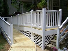 Deck With Ramp Handicap Ramps Handicap Ramp Deck Ramp Railing Handicap Ramps, Handicap Accessible Home, Ramp Design, Deck Design, House Design, Porch With Ramp, Access Ramp, Wheelchair Ramp, Porch Steps