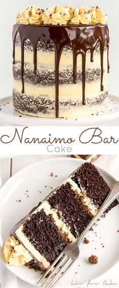 Nanaimo Bar Cake! Chocolate cake layers with a vanilla custard frosting and chocolate coconut crumble. | livforcake.com