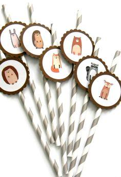 12 Woodland Party Straws, Woodland Birthday, Rustic Woodland Theme, Baby Shower…