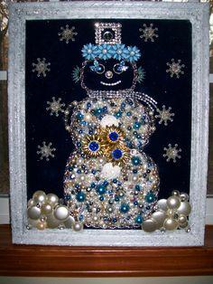 Vintage Rhinestone Jewelry Christmas Tree  Snowman Art By Tami R Dean