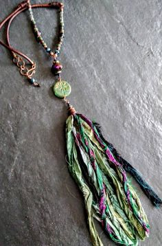 Long tassel necklace boho chic necklace dragonfly necklace versatile jewelry handmade jewelry gift for her oak Textile Jewelry, Fabric Jewelry, Boho Jewelry, Jewelry Gifts, Fine Jewelry, Handmade Jewelry, Jewelry Making, Ribbon Jewelry, Ribbon Necklace