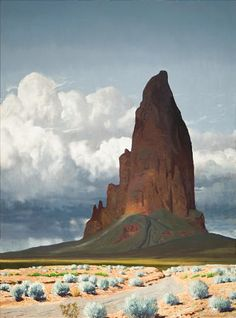 This is not the work of Maynard Dixon as I mistakenly said. It was by James Guilford Swinnerton (1875 – 1974). Swinnerton was an American cartoonist and a landscape painter of the Southwest deserts.