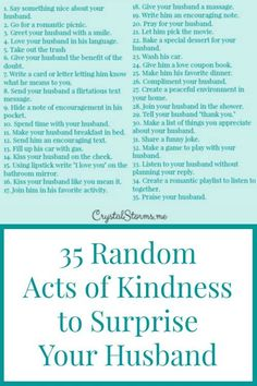 Crystal Storms - Today I want to share some practical ideas for showing kindness to your husband. 35 Random Acts of Kindness to Surprise Your Husband: Marriage Goals, Marriage Relationship, Happy Marriage, Marriage Advice, Love And Marriage, Strong Marriage, Fierce Marriage, Polyamorous Relationship, Godly Marriage