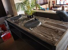 Dj Setup So classy! I need this DJ table! Vinyl Storage, Record Storage, Record Shelf, Dj Dj Dj, Dj Stand, Dj Table, Dj Decks, Digital Dj, Dj Setup
