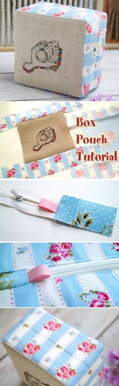 Easy Zippered Box Pouch. How to Sew DIY Photo Tutorial http://www.handmadiya.com/2016/04/easy-zippered-box-pouch-tutorial.html