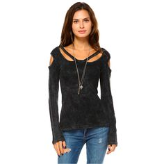 2c557ad987cf88 Purple Leopard Boutique - Black Women s Mineral Washed Long Sleeve Shirt  with Cold Shoulder Detail