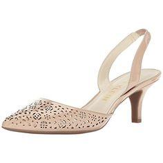 1ec91b5fabc1 Anne Klein Womens Fabrizia Beige Slingback Heels 8.5 Medium (B
