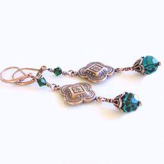 Copper Earrings Emerald Green Swarovski Crystals by Ctbydonna