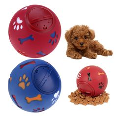 Pet Dog Training Tools Dog Puppy Sound Chew Toy Food Dispenser Leakage Squeaky Giggle Ball Pet Animal Snack Holder S/M/L #Affiliate