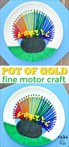 This pot of gold craft is designed to help kids have fun this St. Patrick's Day while working on their fine motor skills. This pot of gold craft is designed to help kids have fun this St. Patrick's Day while working on their fine motor skills. March Crafts, St Patrick's Day Crafts, Spring Crafts, Holiday Crafts, Fun Crafts, Kids Arts And Crafts, At Home Crafts For Kids, Painting Crafts For Kids, Children Crafts