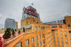 The sign on the roof of the Peabody Hotel in Memphis, Tennessee.