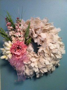Shabby Chic Rag Wreath, Cottage Chic Rag Wreath, Burlap Rag Wreath, Wreath.  via Etsy.