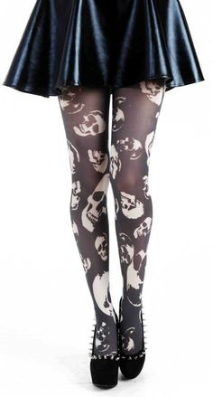 Goth Black  White Skulls Tights - great for halloween or a gothic outfit. Plus size 2xl 3xl   I love the shoes too though!!!