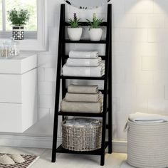 Keep towels neat and fresh is part of Bathroom storage shelves - Towel storage ideas for tidy bathrooms Bathroom Towel Storage, Bathroom Towels, Bath Towels, Bathroom Organization, Bathroom Ladder Shelf, Bathroom Cabinets, Towel Shelf, Bathroom Canvas, Storage Ideas For Bathroom