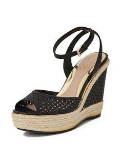 SEBASTIAN - punching leather wedge sandals