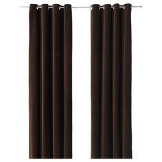 "Ikea Sanela Dark Brown Curtains 2 Window Panels Blackout Cotton Velvet 118"" long #IKEA #Traditional"