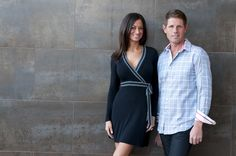 She's wearing a Bailey 44 dress. He's wearing a Robert Graham shirt with Mavi jeans.