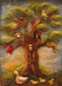 Wool picture: Tree of birds