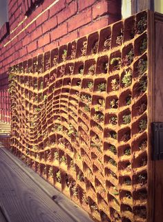 Assembled CNC milled panel with vegetated wall backing for Sedum and mosses, by: MLZDESIGN