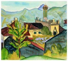 Hermann Hesse - Dächer und Turm Camuzzi - Aquarell 18. Mai 1928