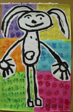 Divide the page into 6 squares and paint each one a different colour. When dry experiment with different prints on each square. Children draw themselves with a sharpie, then cut out and stick over printing. Gorgeous!