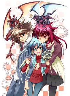 Dragonic Overlord, Kai, Phantom Blaster Dragon, Ren, Aichi and Soul Saver Dragon