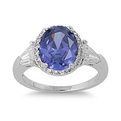 925 Sterling Silver Cubic Zirconia Accented Prong Simulated Tanzanite Ring Size 7 ** Check out the image by visiting the link. (This is an affiliate link) Cubic Zirconia Engagement Rings, Cubic Zirconia Rings, Gold Jewelry, Jewelry Rings, Oval Engagement, Tanzanite Ring, Watch Brands, Jewellery Display, Silver Color