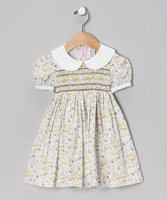 Take a look at this Yellow Floral Smocked Dress - Infant, Toddler & Girls by Emily Lacey on #zulily today!