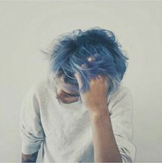 Image about hair in →BoYs← by Jackie☽ on We Heart It Boys Blue Hair, Short Blue Hair, Light Blue Hair, Blue Hair Aesthetic, Teddy Lupin, Men Hair Color, Hair Quotes, Boy Hairstyles, Hair Inspo