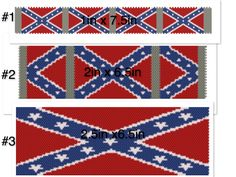 All 3 Confederate Flag Bracelets made by Bead of Desire. Patterns for the bracelets are available for sale To Purchase Pattern send email to nikki.brian@gmail.com and I will invoice you through PayPal, once paid I will send .pdf files to you through email
