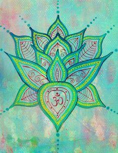 Lotus Painting - Original Art - Green acrylic painting - Spiritual art - Buddhist art - Buddhism art - Om painting - Yoga from EarthChildArt on Etsy. Yoga Studio Design, Studio Art, Lotus Painting, Painting & Drawing, Mandala Art, Lotus Mandala, Mandala Tattoo, Art Om, Zentangle